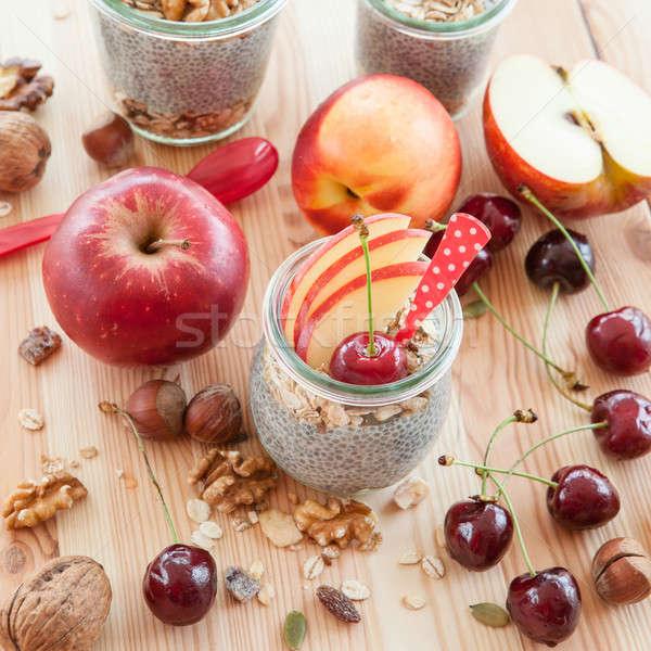 Pudim fresco frutas vintage comida café da manhã Foto stock © BarbaraNeveu