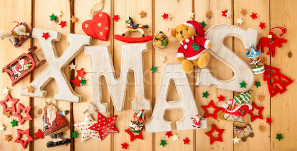 Noël vintage jouet décorations coeur rouge Photo stock © BarbaraNeveu