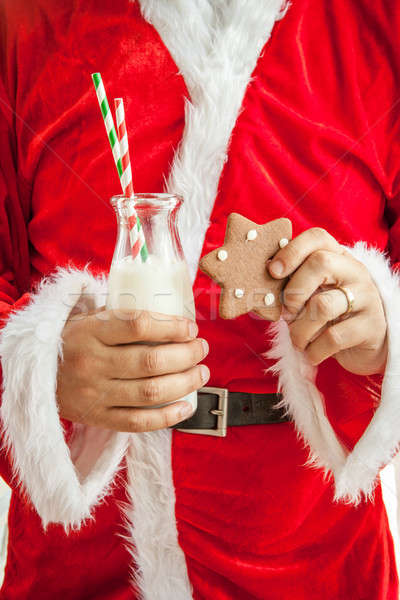 Mikulás elvesz törik tej sütik kezek Stock fotó © BarbaraNeveu