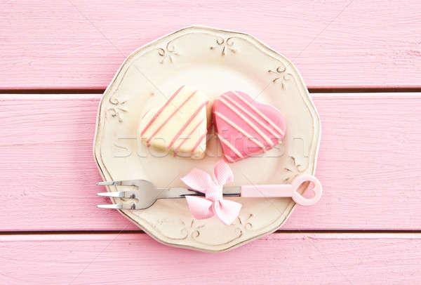 Pink Petit Fours in Heart shape Stock photo © BarbaraNeveu