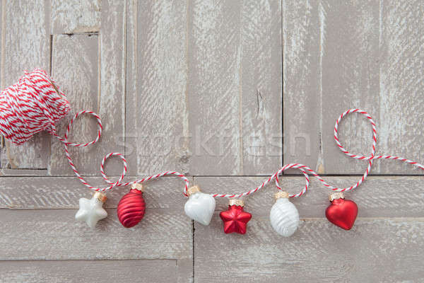 Foto stock: Alegre · natal · decorações · rústico · madeira