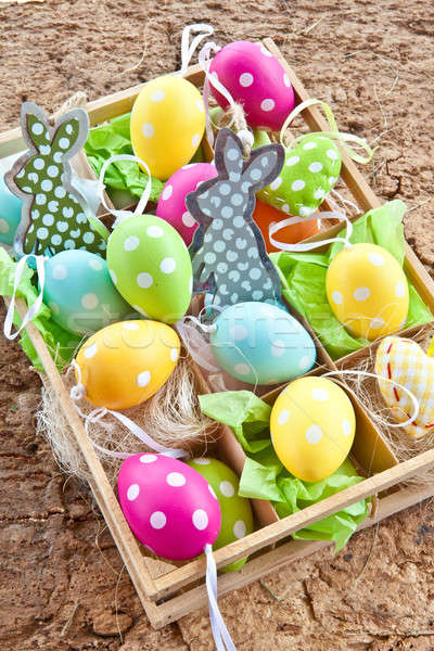 Little box full of easter decorations Stock photo © BarbaraNeveu