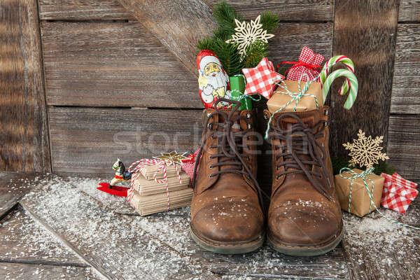 Botas Navidad presenta cuero invierno Foto stock © BarbaraNeveu