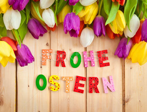 Napisany wielobarwny litery świeże tulipany Wielkanoc Zdjęcia stock © BarbaraNeveu