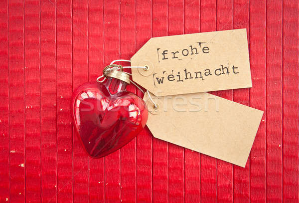 Hart Rood rustiek papier geschenk Stockfoto © BarbaraNeveu