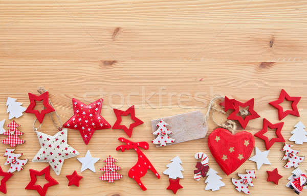 Wooden background with xmas decorations Stock photo © BarbaraNeveu