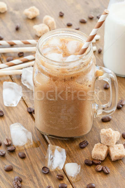 Jeges kávé klasszikus bögre tej ital Stock fotó © BarbaraNeveu