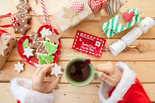 Mikulás elvesz törik tea sütik levél Stock fotó © BarbaraNeveu