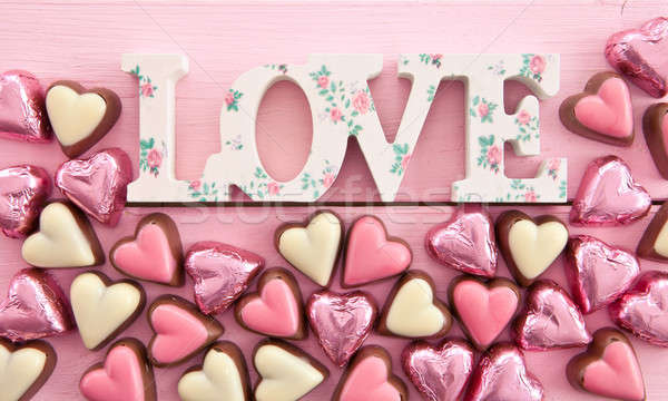 Colorful chocolates in heart-shape Stock photo © BarbaraNeveu