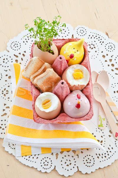 яйца соль перец поджаренный хлеб Сток-фото © BarbaraNeveu