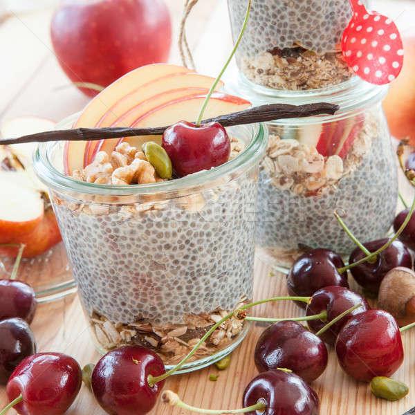 Pudim fresco frutas nozes comida saúde Foto stock © BarbaraNeveu
