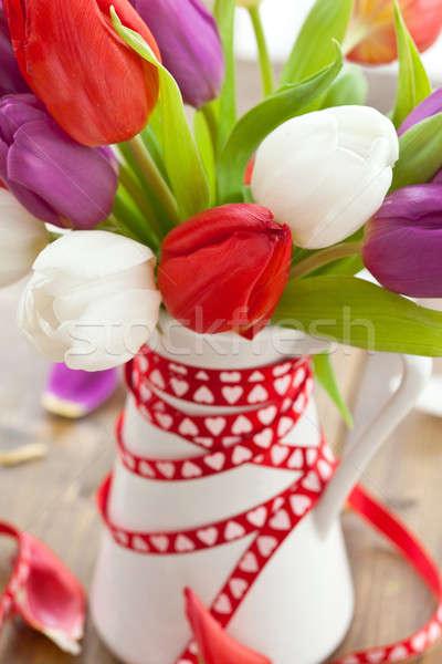 красочный тюльпаны Пасху деревянный стол любви рождения Сток-фото © BarbaraNeveu