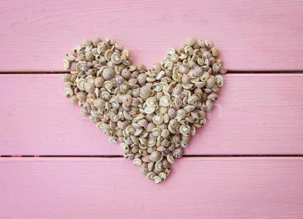 Mar conchas forma de coração rústico amor Foto stock © BarbaraNeveu
