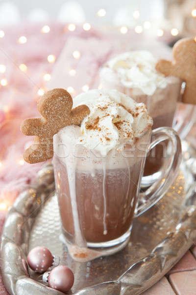 Sıcak çikolata krem şanti cam kupa sıcak Noel Stok fotoğraf © BarbaraNeveu