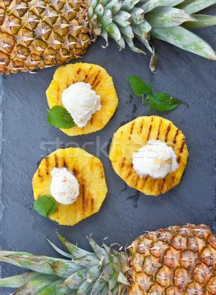 гриль ананаса мороженым ваниль продовольствие фрукты Сток-фото © BarbaraNeveu