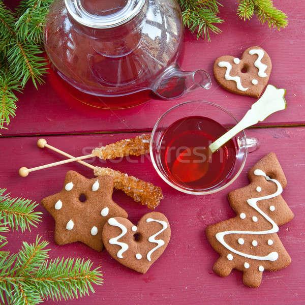 Stock fotó: Tea · karácsony · sütik · forró · mézeskalács · bor