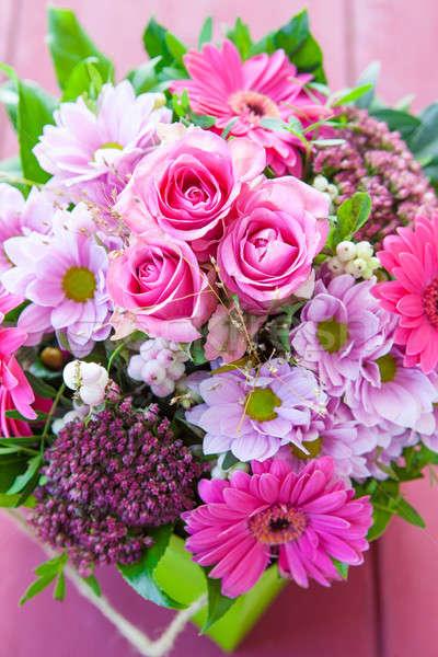 Colorido buquê fresco rosa aniversário dom Foto stock © BarbaraNeveu