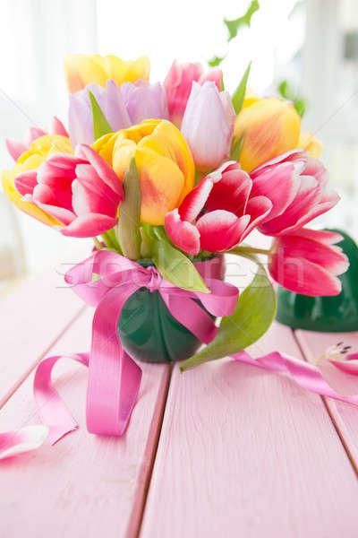 Bouquet of fresh tulips Stock photo © BarbaraNeveu