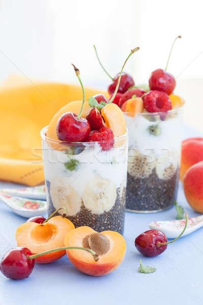 Pudim iogurte frutas fresco comida saúde Foto stock © BarbaraNeveu