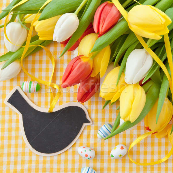 Fresh tulips and a vintage chalkboard Stock photo © BarbaraNeveu
