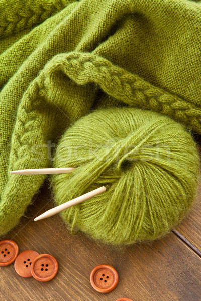 Stockfoto: Handgemaakt · gebreid · sjaal · groene · wol · winter