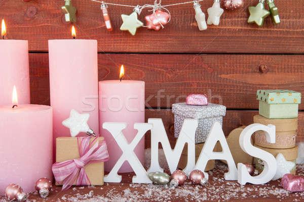 Noël décorations bougies joyeux neige Photo stock © BarbaraNeveu
