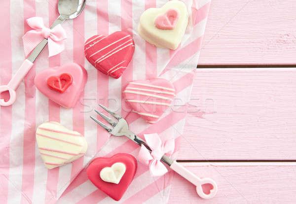 Rózsaszín szív alak színes szív formák étel Stock fotó © BarbaraNeveu