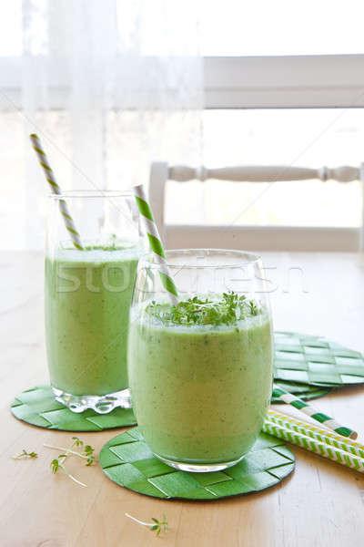 Zöld smoothie gyógynövények friss zöld zöldség smoothie Stock fotó © BarbaraNeveu