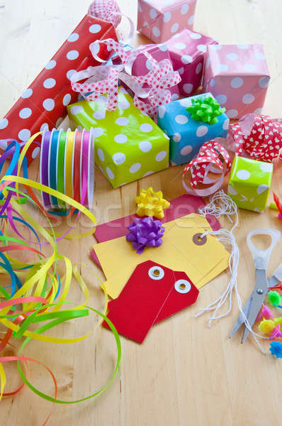Colorful gift boxes wrapped in dotted paper Stock photo © BarbaraNeveu