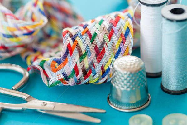 красочный швейных пряжи ножницы синий Сток-фото © BarbaraNeveu