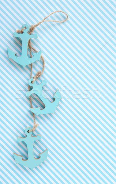 Dekoratif mavi beyaz çizgili plaj deniz Stok fotoğraf © BarbaraNeveu