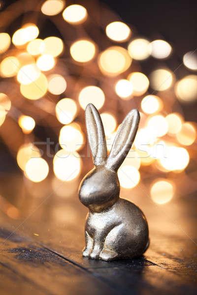 Küçük altın easter bunny Paskalya mutlu ışıklar Stok fotoğraf © BarbaraNeveu