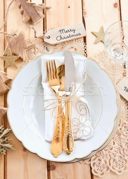 ヴィンテージ 食器 ディナー 表 ストックフォト © BarbaraNeveu