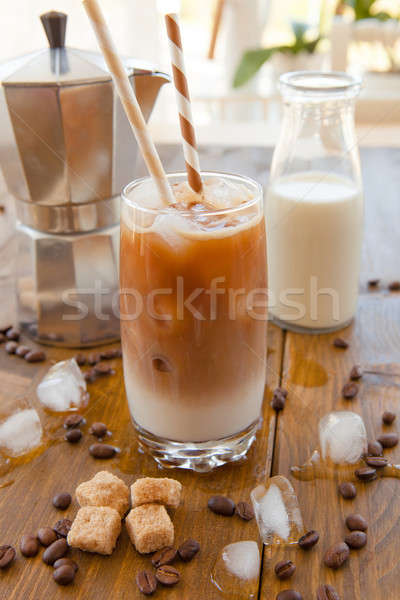Iced coffee in tall glass Stock photo © BarbaraNeveu