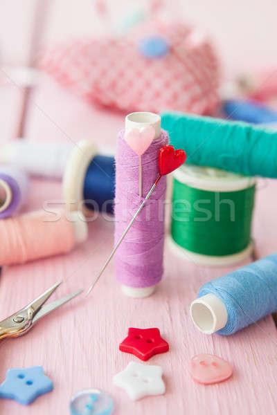 Sewing yarn with pins Stock photo © BarbaraNeveu