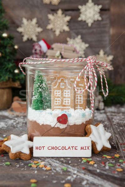 Homemade cocoa mix and cookies Stock photo © BarbaraNeveu