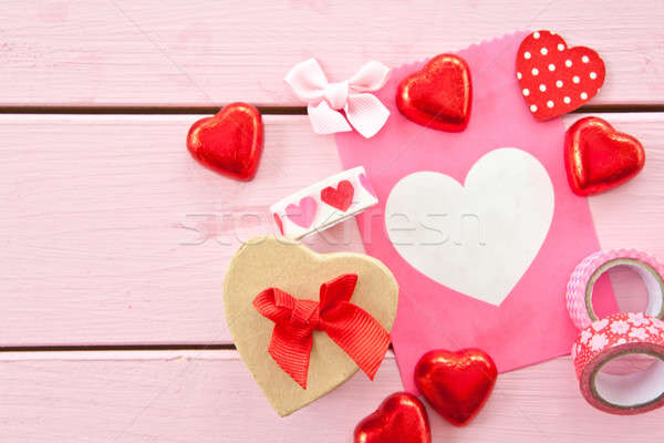 Chocolate hearts and colorful gift bag Stock photo © BarbaraNeveu