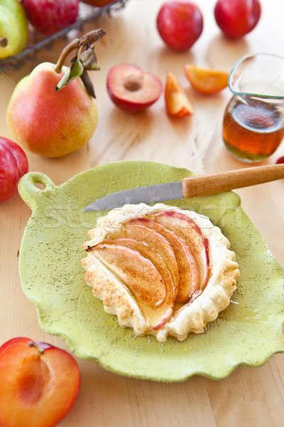 Piccolo mela crostata verde frutti piatto Foto d'archivio © BarbaraNeveu