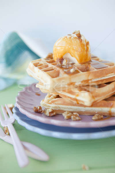 Waffles a la mode Stock photo © BarbaraNeveu