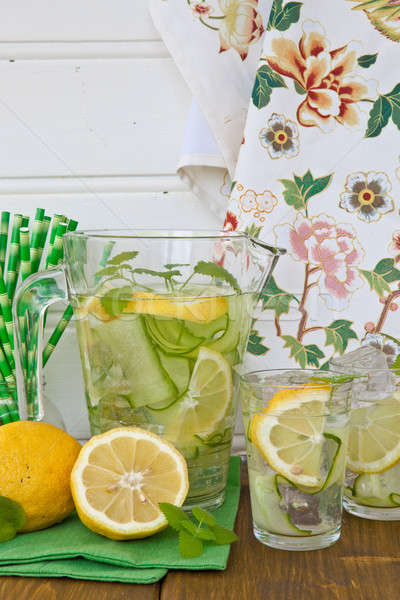 Lemonade with cucumber and lemons Stock photo © BarbaraNeveu