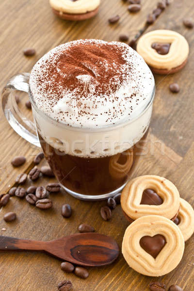 Kubek kawy kremowy mleka piana hot Zdjęcia stock © BarbaraNeveu