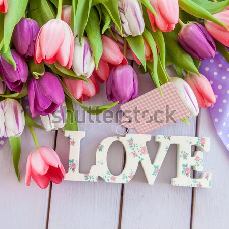 LOVE in front of flower bouquet Stock photo © BarbaraNeveu