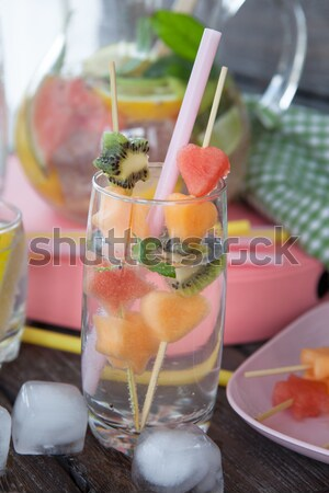 Stock photo: Homemade Lemonade with strawberries