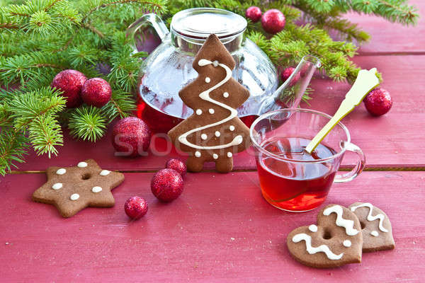 Tea and christmas cookies Stock photo © BarbaraNeveu