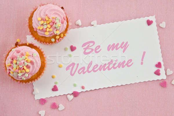 Little cupcakes on pink Stock photo © BarbaraNeveu