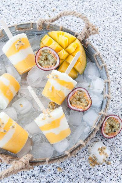 Házi készítésű fagyott friss mangó szenvedély gyümölcs Stock fotó © BarbaraNeveu
