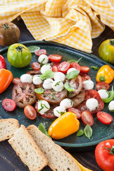 томатный Салат моцарелла Капрезе базилик Сток-фото © BarbaraNeveu