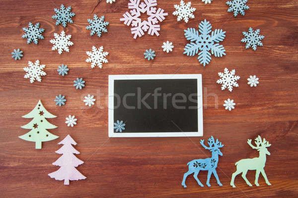 Rustic background with snow flakes Stock photo © BarbaraNeveu