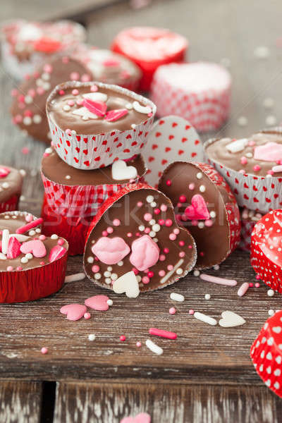 Stock photo: Homemade chocolates with sprinkles