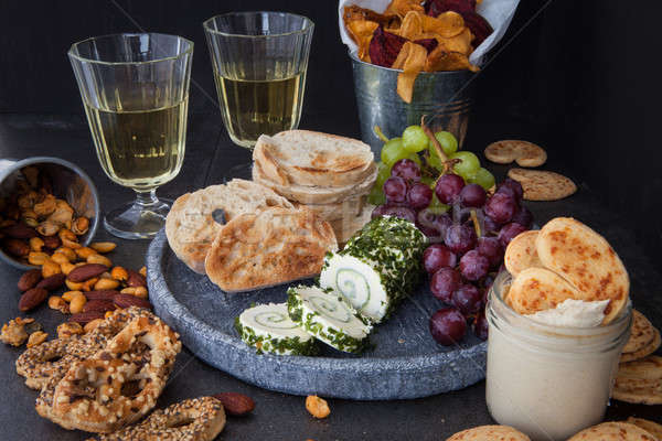 Cheese with bread and crackers Stock photo © BarbaraNeveu
